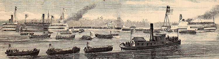 "Engraving labeled ""The Burnside Expedition - Landing of the national troops on Roanoke Island, under cover of the Union gunboats Delaware and Picket."" Image from Archive.org."