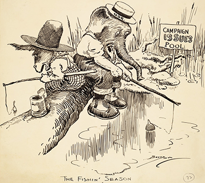 "Political cartoon titled ""The Fishin' Season"" by Clifford K. Berryman, published 1920. Image from LearnNC.org."