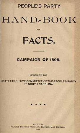 Title page of the People's Party Hand-Book of Facts. Campaign of 1898.