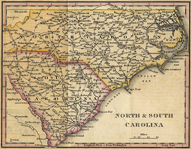 Map of North and South Carolina, showing Post Roads and mileage, 1828. Image from NC Maps.
