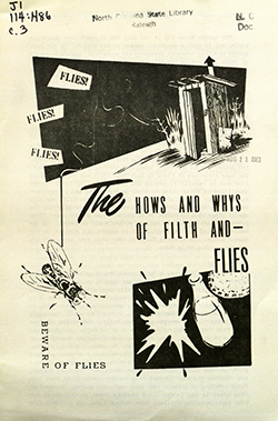 Pamphlet warning of the dangers of flies, 1974. Image from the North Carolina Digital Collections.