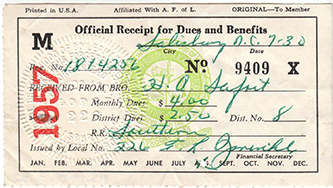 Receipt for Union Dues, Salisbury, N.C., 1957. Image from the North Carolina Historic Sites.