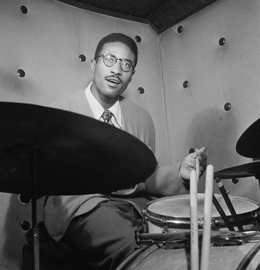 Portrait of Max Roach at the Three Deuces club in New York city circa October 1947.