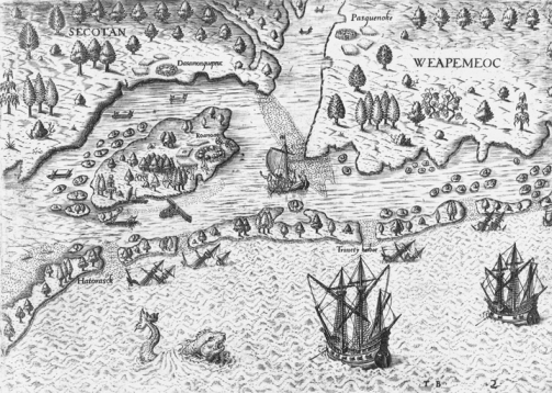 Theodor de Bry included this plate made from a drawing by John White in his volume America, published in 1590. The illustration shows the island of Roanoac, but the only human habitation depicted is an Indian village surrounded by palisades and fields. North Carolina Collection, University of North Carolina at Chapel Hill Library.