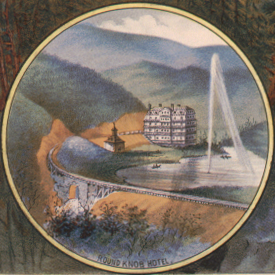 "Detail of ""Birds eye view of Round Knob. W.N.C.R.R."" sketched by Horace Bradly; engd. & printed by C.G. Crawford, N.Y.  circa 1884."