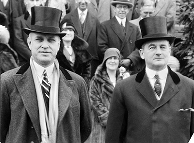 O. Max Gardner, left, and Angus McLean, right at Gardner's inauguration, 1929. Image from the North Carolina Museum of History.