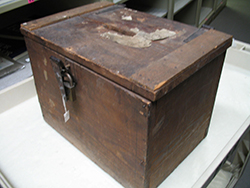 Ballot box from Richmond County, N.C., circa 1900-1954. Image from the North Carolina Museum of History.