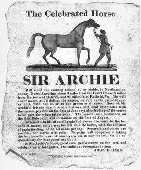 An 1827 broadside produced by John Amis, Sir Archie's owner, advertising the horse at stud. From the Cameron Family Papers, no. 133, Southern Historical Collection, Wilson Library, UNC-Chapel Hill.