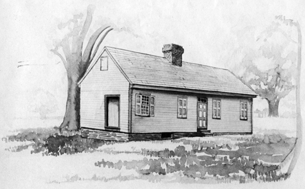 Photograph of a water color painting of the James Hogg house in Hillsborough, N.C., where the North Carolina Society of the Cincinnati was organized, October 23, 1783. Image from the North Carolina Museum of History.