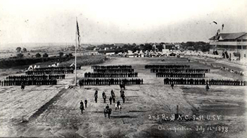 The Second North Carolina Infantry on inspection, July 16th 1898, at the racetrack of the State Fairgrounds. Image from the North Carolina Museum of History.