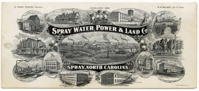 """Advertising card for Spray Water, Power & Land Co."" Image courtesy of Rockingham Community College Foundation, Inc., Historical Collections, Gerald B. James Library."