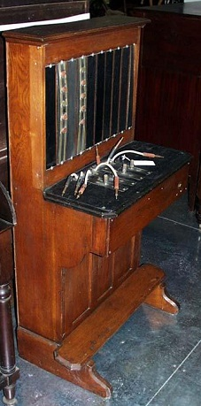 One of the first telephone switchboards in North Carolina. It is believed to be the first telephone switchboard in Nash county; built by Spencer K. Fountain, a Rocky Mount railroad agent, circa 1890-1900.