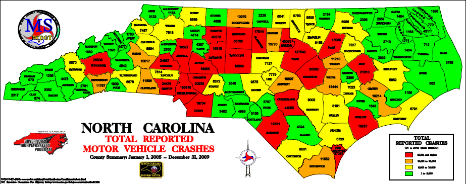 NC total reported motor vehicle crashes by county, 2005-2009