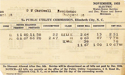 North Carolina utility bill from 1933.  Image from the North Carolina Museum of History.