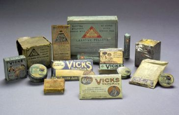 """Early examples of Vicks VapoRub in the exhibit Health and Healing Experiences in North Carolina at the N.C. Museum of History."""