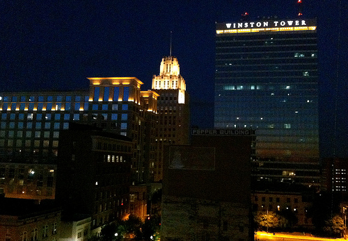 """Winston-Salem Skyline at Night."" Available from: Flickr Commons."
