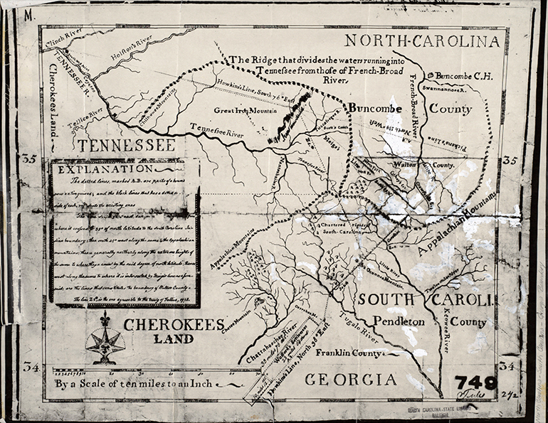 Map of the boundaries of now-defunct Walton County in what is presently Transylvania County, N.C. Image from the N.C. Family Records Collection.
