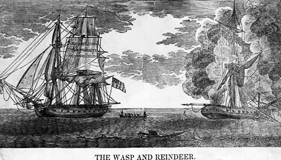 An engraving of the Wasp and the Reindeer. Image from the North Carolina Museum of History.