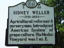 Sidney Weller's marker on SR 1002 east of Hollister at Medoc Mountain State Park in Halifax County. Photo is courtesy of North Carolina Highway Historical Marker Program.