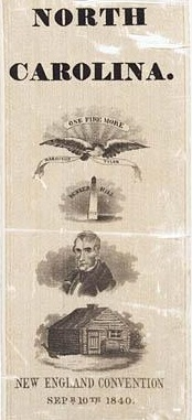 Campaign ribbon for William Henry Harrison, Whig candidate for president in 1840.