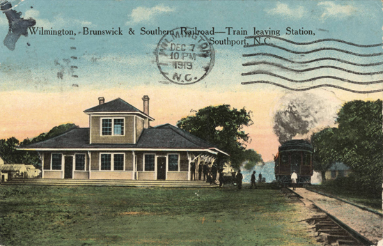 Postcard of the Wilmington, Brunswick and Southern Railroad station in Southport, N.C., circa 1919. Image from the North Carolina Collection of the University of North Carolina at Chapel Hill.