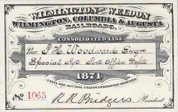 Boarding pass for the Wilmington and Weldon Railroad, 1874. Image from North Carolina Historic Sites.