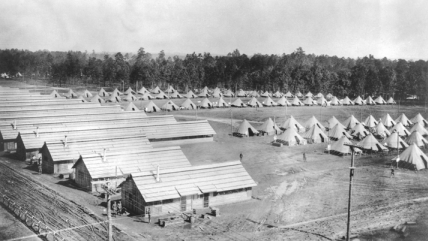 Tents and barracks at Camp Greene near Charlotte. Wade Harris Papers, no. P-317, Southern Historical Collection, Wilson Library, UNC-Chapel Hill.