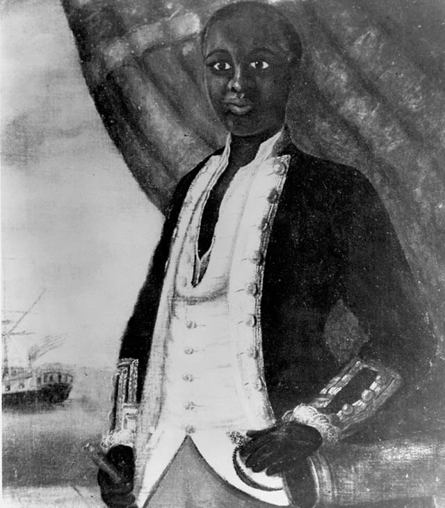 Portrait of a black Revolutionary War sailor.