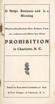 A pamphlet distributed by the Anti-Saloon League of Charlotte. Image courtesy of DocSouth, UNC.