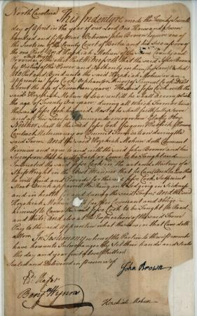"(click for transcription) ""This indenture from 1759 bonded Jesse Cook, aged seventeen, as an apprentice to Hezekiah Mohun, a Bertie County shipwright, until Cook's twenty-first birthday. ""(From Bertie County, NC, County Records, Apprentice Indentures, North Carolina State Archives (CR.010.101.7) Image online from LearnNC."