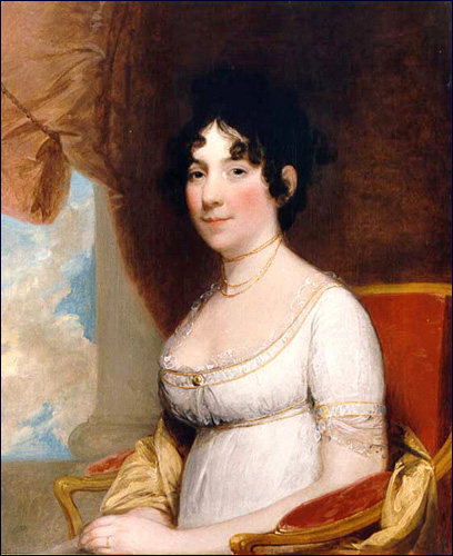 1804 portrait of Dolley Madison by Gilbert Stuart (1755-1828).