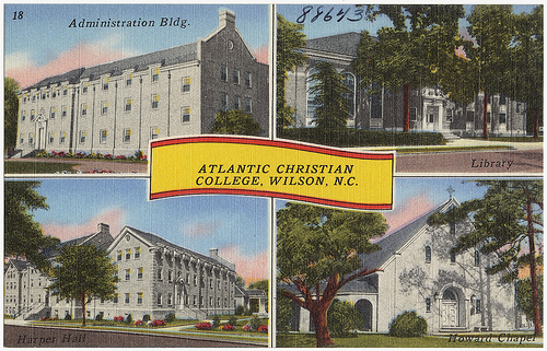 Atlantic Christian College, Wilson, N.C., ca. 1930 - 1945, postcard. Image courtesy of  Boston Public Library.