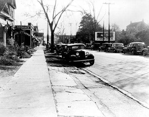 Automobiles on a Raleigh Street, circa 1940
