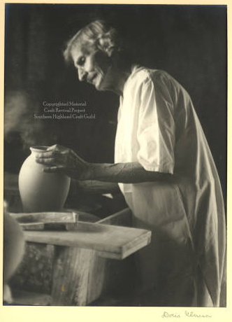 O. L. Bachelder at the potter's wheel, created by Umann, Doris. Image courtesy of Western Carolina Hunter Library Digital Collections.