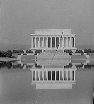 Lincoln Memorial. Early morning with Lincoln Memorial reflecting in water. Image Courtesy of Library of Congress.