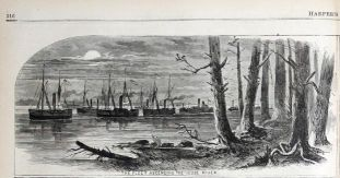 "Caption Reads: ""The Fleet Ascending the Neuse River."" Harpers Weekly, 1862."