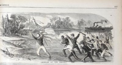 "Caption Reads: ""Landing of the Troops"". Harper's Weekly, 1862."