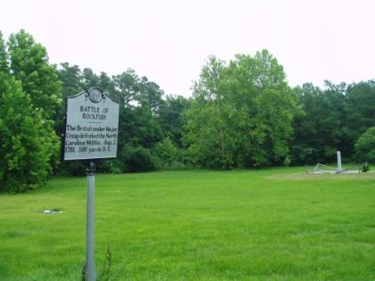 Battle of Rockfish, NC Historical Marker F-7. Image courtesy of the North Carolina Office of Archives & History.