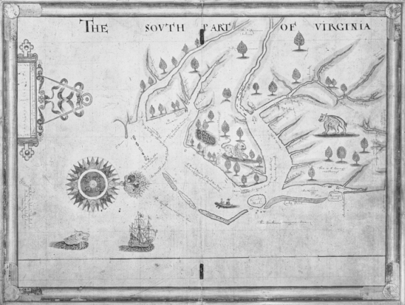The Nicholas Comberford map of 1657 shows the house of Nathaniell Batts near the confluence of the Morattico (Roanoke) and Choan (Chowan) Rivers. Copyright National Maritime Museum, London.