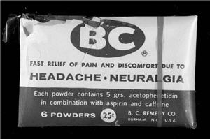 Photo of an old BC Powder sample.