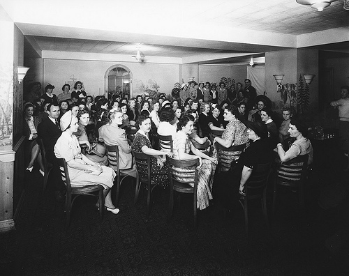 Beauty Shop Demonstration at Sir Walter Hotel May 27, 1942. Image courtesy of the North Carolina State Archives, call #: N.53.16.5374.