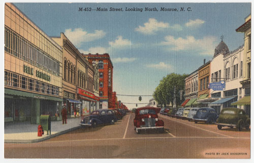 Post card featuring Belk Brothers in Monroe, North Carolina. Image available from UNC Libraries.