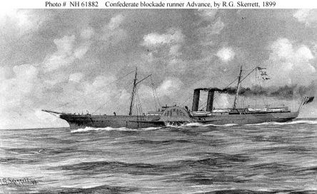 Confederate Blockade Runner Advance  Sepia wash drawing by R.G. Skerrett, 1899.  Courtesy of the U.S. Navy Art Collection, Washington, D.C.  U.S. Naval Historical Center Photograph.Photo #: NH 61882