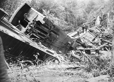 Train Wreck of Bostian Bridge, Iredell County, NC. Wreck occured August 27, 1891, near Statesville. Photos by Stimson Studio, Statesville, NC. Image courtesy of NC State Archives, call #:  N_88_9_11.