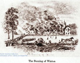 """Burning of Winton."" Courtesy of the North Carolina Collection at the University of North Carolina libraries."