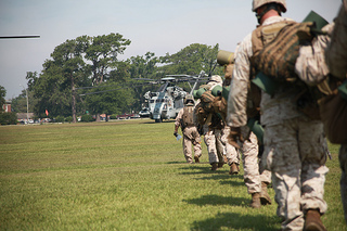 MARINE CORPS BASE CAMP LEJEUNE, N.C. (June 18, 2012) -- More than 500 Marines and Sailors participate in the opening operation of Operation Mailed Fist, June 18. For many of the Marines involved in the Marine Air Ground Task Force it was their first time riding the CH-53E, Super Stallion. Image courtesy of Flickr user Cherry Point.