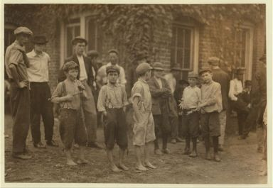 A few of the young boys working in the Cannon Mills, Concord, N.C., but only a few of them and not the smallest, Concord, NC, 1912. Image courtesy of Library of Congress.
