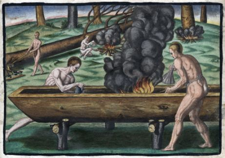 """Native Americans Making Canoes,"" 1590, Theodor de Bry. Image courtesy of LearnNC."