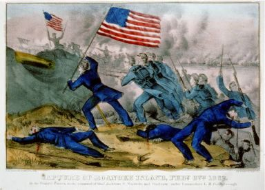 Capture of Roanoke Island, Feby. 8th 1862: By the federal forces, under Command of Genl. Ambrose E. Burnside, and gunboats under Commodore L.M. Goldsborough