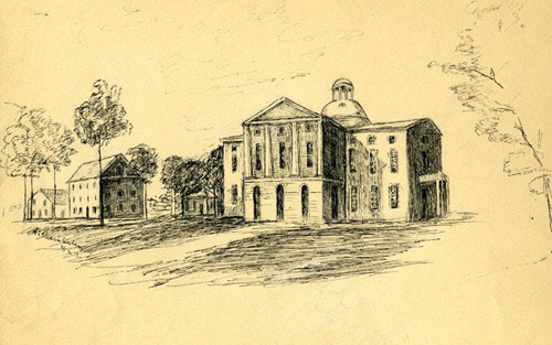 Drawing by Hope Chamberlain of the old captiol building that was destroyed by fire in 1831. Image courtesy of the NC Museum of History.